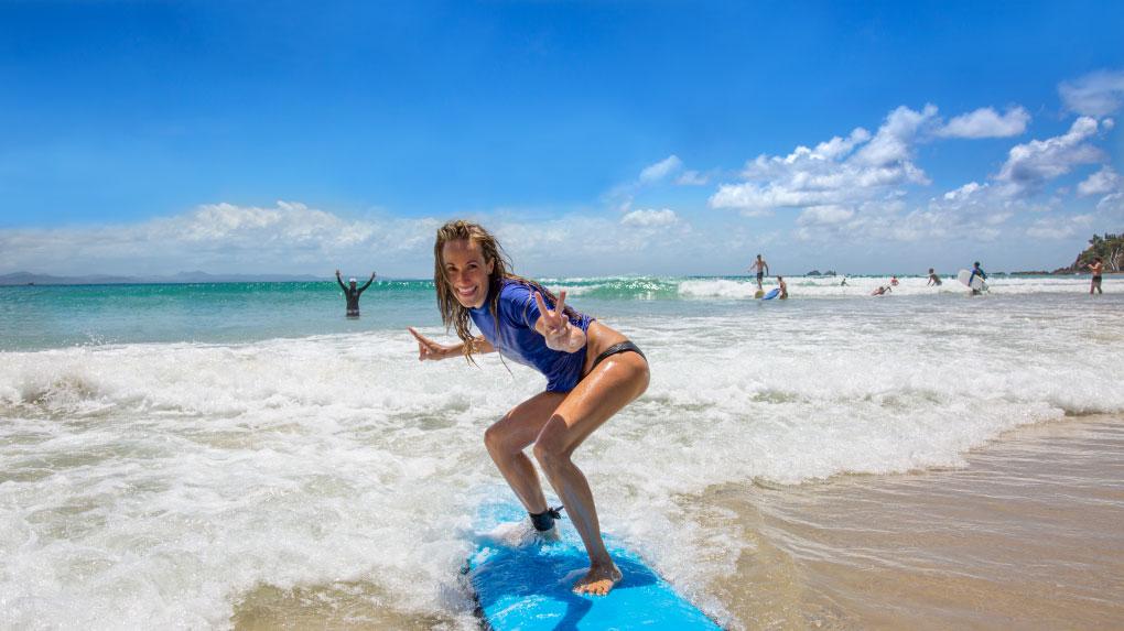 Byron Bay: Surfen, Fallschirmspringen am Strand